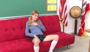 Blonde schoolgirl rubs the brush fur pie before the brush sex-crazed bus arrives to fuck