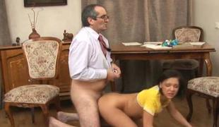 Lustful aged teacher is humping babes anal jade
