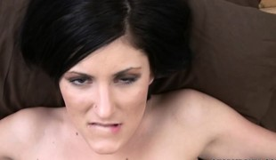 Cute dark brown Charli Baker takes a cock in her racy twat