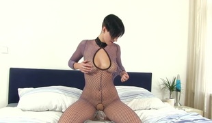 Short hair babe ginormous stocking has large natural tits to atmosphere