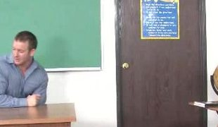 A firm juvenile body is getting penetrated by a rock hard teacher