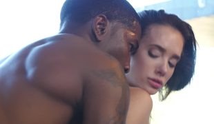 Interracial action by skinny white honey and muscled black boy