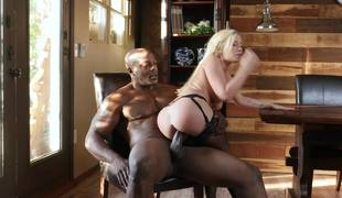 Blonde princess plays with the biggest black cock in her life