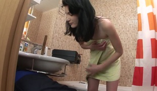 A hot brunette 19yearold gets it on with her college boyfriend, giving him