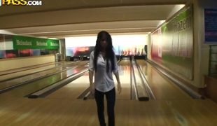 This chick lost me bowling challenge and needs to suck my pecker