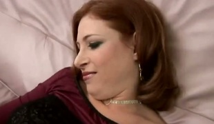 Of age Ginger Blaze with succulent boobs gives deep throat job