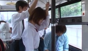 Girl rides burnish apply bus home from school increased by receives screwed