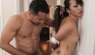 Oriental hotty Miko Dai sucks cock to the fullest her hands tied up