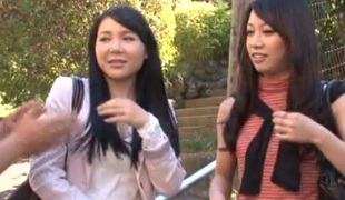 Erotic twat pounding ffm triumvirate act on every side two effectual Asian women