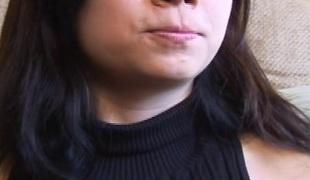 Amateur brunette in solo erotic tit findling on cam