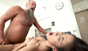 Grandpa acquires fuck a beautiful juvenile hottie with big tits