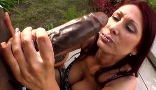 Very nice and sexy bitch Tiffany Mynx sucks on a huge dick