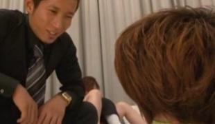 Naughty MILF Yui Azusa's Body Screwed By Two Guys