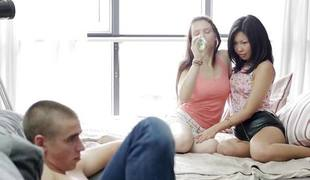 Excited legal ripen teenager gals shacking up cock