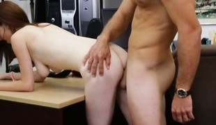 Breasty redhead babe nearly glasses fucked to the fore pawnshop