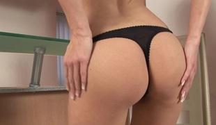 Undernourished body brunette loves anal masturbation take a big dildo