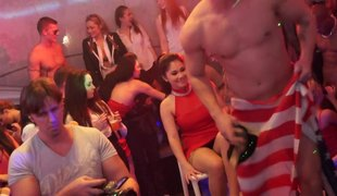 Sexually stimulated babes drag inflate dicks and get thorough nailing at the club