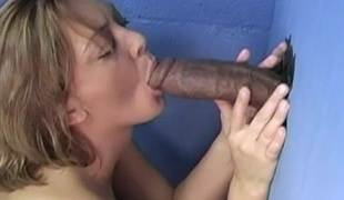 Tainted babe finds a glory chasm and sucks a heavy black cock