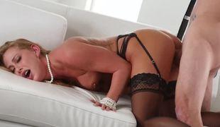 Erotic fuck of stockings and garter belt hottie Carter Cruise