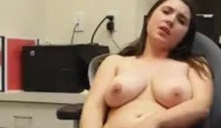 Big Tit Non-professional Teen rubs on chair