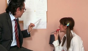 TrickyOldTeacher - Struggling student sucks wang of teacher and fucks till she passes