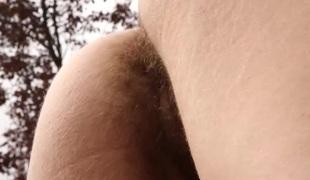 Hairy pussy backyard fingering