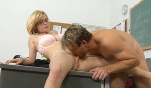 Nerdy golden-haired schoolgirl eaten out increased by banged by his teacher
