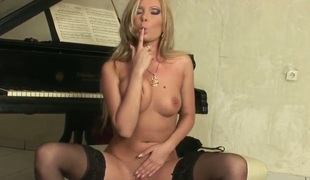 Watch the porn scene where Donna Bell is satisfied ergo well before the camera. She stays in black stockings and black high heels sucks wee deoch an doris sex-toy before masturbating.