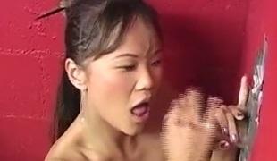 Beautiful Asian benefactor enjoys sucking a chunky cock through a grandeur hole