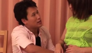 Entertaining Japanese teen gets a hardcore fuck on touching her bedroom