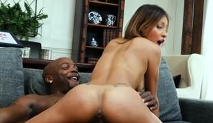 Great black porn act with skinny Ebony and black stallion
