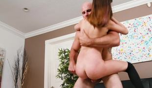 Flexible fuck toy in stockings and heels loves big pecker