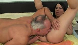 Youthful Chanel in nasty game with mature man