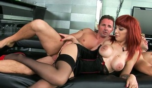 Redhead pornstar Mai Bailey with biggest adore melons gives a closeup view of her honeypot space fully masturbating