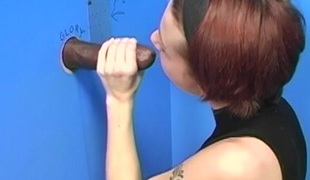 Redhead all round short hair swallows a monster black load of shit