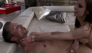 Petite pale-skinned bitch satisfies two mad fuckers