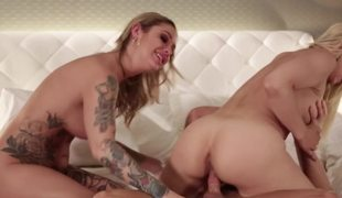 Buxom porn babes get laid in daybed by his stiff erection