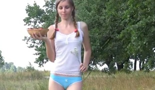Cute russian cutie lydia pleasing herself with strawberries