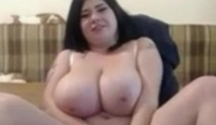BBW Ex GF with large Milk cans masturbating dishevelled pussy